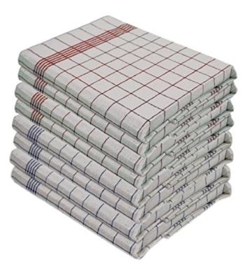 10 Stück Geschirrtücher, 100% Baumwolle,  50 x 70 cm, kochfest, 5 Stk. Rot und 5 Stk. Blau -