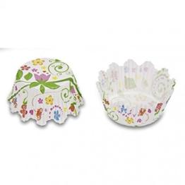 100 Mini-Muffin Papierförmchen mit Zacken, Blumengarten -