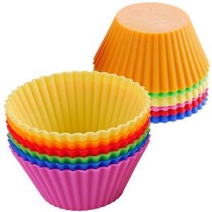 12er Set Silikon Muffinform Muffinförmchen Muffin Kuchen Cup 6 Farben Backform Rot, Gelb, Grün, Pink, Orange, Blau stabil und flexibel farbig -