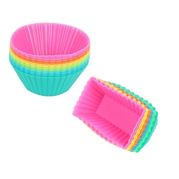 4wandtraum: Silikonform Backform 24 Set Muffin Cupcake-Förmchen Muffinförmchen 6 Farben für Muffins, Brownies, Cupcakes, Kuchen, Pudding -