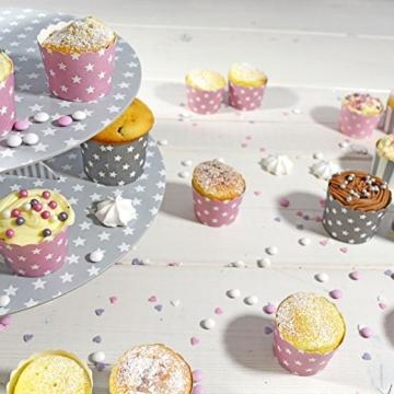 50 Frau Wundervoll Muffin Backformen aus stabilem Papier, groß Ø 6,1 cm, grau mit weißen Sternen / Muffinförmchen / Cupcake Backformen / Muffindeko Frau Wundervoll -