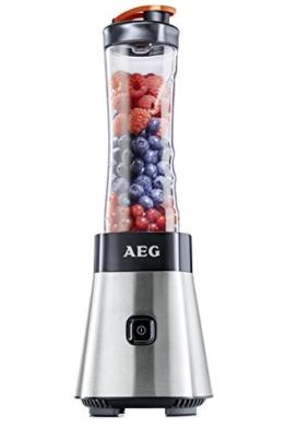 AEG PerfectMix SB 2400 Mini Mixer mit 0,4 PS-Power-Motor (bis zu 23.000 U/min, 4 Edelstahlmesser, bruchfeste 0,6 l BPA-freie Tritan-Trinkflasche, Standmixer mit gebürstetem Edelstahlgehäuse) -