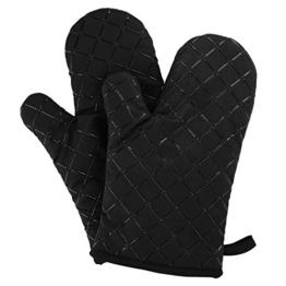 Aicok Ofenhandschuhe Anti-Rutsch Küche Backofen Handschuhe Hitzebeständig Handschuhe zum Kochen, Backen, Barbecue Isolation Pads, Schwarz, 1 Paar -