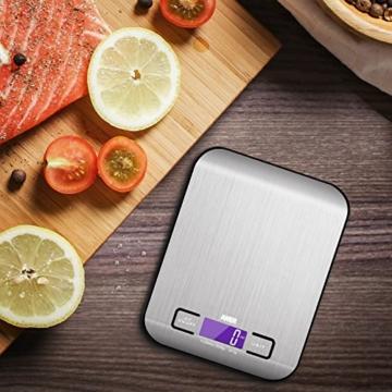 Amir Digitale Küchenwaage,Küchenwaage, Briefwaage, Hohe Präzision auf bis zu 1g (5kg Maximalgewicht), Tara-Funktion, mit 1-g-genauer Teilung und Großem LCD-Display, Inkl. Batterie (Schwarz) -