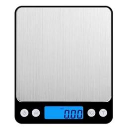 Amir Digitale Küchenwaage,Mini Waage /hohe Präzision auf bis zu 0,1g (3kg Maximalgewicht), Tara-Funktion, ideal zum Messen von Zutaten, Schmuck, Reis, Mehl, Gold, Edelsteinen, Briefen, Briefmarken -