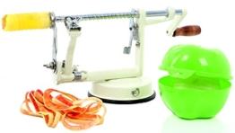 Apfelschäler Apfelschneider Apfelentkerner 3 in 1 mit Apfeldose (Cremeweiß) -