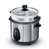 Arendo - Edelstahl Dampfgarer / Reiskocher | inkl. Dampfgarerfunktion | 1,0l Kapazität | Warmhaltefunktion | mit Innentopf und Deckel, Messbecher, Pfannenwender, Dampfgaraufsatz -