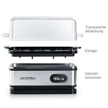 Arendo - Eierkocher Edelstahl mit Warmhaltefunktion | Kipp-Funktionsschalter mit Indikationsleuchte | frei wählbarer Härtegrad | rostfreier gebürsteter Edelstahl -