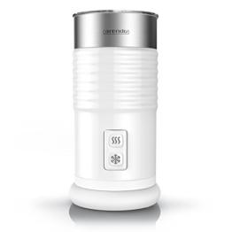 Arendo milkloud Milchaufschäumer automatisch | milk frother | rostfreies Doppelwanddesign | 2-Tasten für Warm- und Kaltaufschäumen | Soft-Touch-Oberfläche | Überhitzungsschutz durch automatische Abschaltfunktion | antihaftbeschichtet | 360° Basisstation | weiß / silber (gebürsteter Edelstahl) -