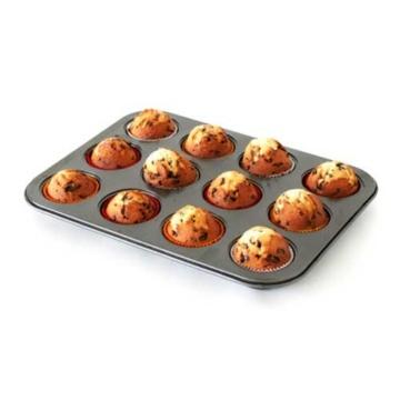 Axentia Muffinbackform, Backblech für 12 Muffins, ca. 35 x 27 x 3 cm, Antihaftbeschichtung, passend für jeden Backofen, Backform, Formgröße Ø ca: 7,5 cm, Höhe 3 cm -
