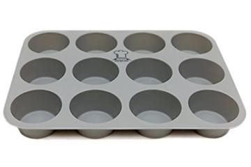BackeFix - Silikon Muffinblech - einfach zufrieden sein ★ ohne Fett und Papier backen ★ beliebtestes Silikon Muffinform ★ Antihaft-Beschichtung | 2 Jahre Garantie | Silikon Muffinform (12er) -