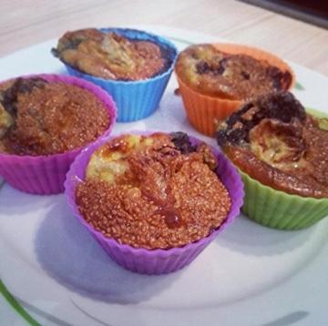 Belmalia 12x Muffinförmchen, Silikon, antihaftbeschichtet, Cupcakes, Brownies, Kuchen, Pudding, Muffins, Muffinform, bunt -