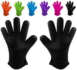 Belmalia 2 Backhandschuhe, Silikon, NEU: noch hitzebeständiger, Grillhandschuhe, Topflappen, Ofenhandschuhe Schwarz -
