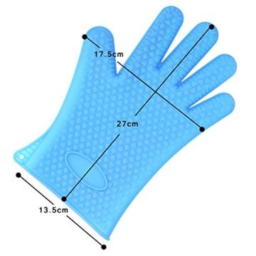 Belmalia Backhandschuh, Silikon, NEU: noch hitzebeständiger, Grillhandschuh, Topflappen, Ofenhandschuh Blau -
