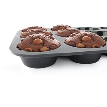 Belmalia Muffinblech aus Silikon für 12 Muffins, antihaftbeschichtet, Cupcakes, Brownies, Kuchen, Pudding, Muffinform Schwarz -