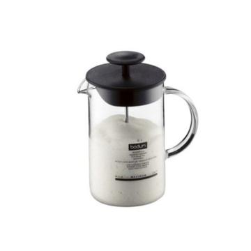 Bodum 1446-01 Milchschäumer mit Glasgriff Latteo, schwarz -