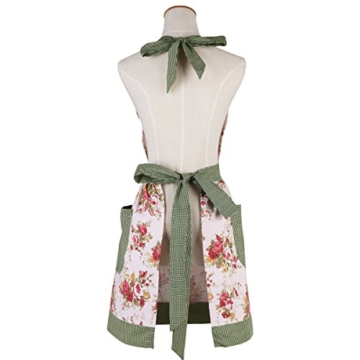 Butterme New Art Blumen Muster Damen Frauen schürze Küchenschürze Mode Blumenbaumwoll Chef Kochen Koch Schürze Latz mit Taschen -