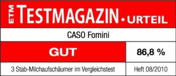 Caso 1610 Fomini Milchaufschäumer, Cremigster Milchschaum, mit Edelstahlfeder und Edelstahl-Standfuß -
