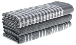 Classic Küche Handtücher, 100% Natürliche Baumwolle, Der Beste Tee Handtücher, Gericht, Reinigungstuch, Saugstark Und Fusselfrei, 45 x 65 cm, 3 Pack, Weiß Mit Streifen Grau -