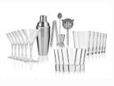 Cocktailshaker Barzubehör-Set 23 teilig aus Edelstahl, inkl. 18 Gläsern in 3 verschiedenen Formen -