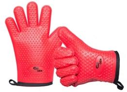 CookGen Silikon Topfhandschuhe Rot + Baumwolle - 1 Paar - Backhandschuhe - Grillhandschuhe - Kochhandschuhe - Ofenhandschuhe - Küchenhandschuhe - Set - Topflappen -