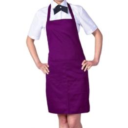 Damen Frauen Kochschürze Schürze Küchenschürze Latzschürze Arbeitskleidung (Lila) -