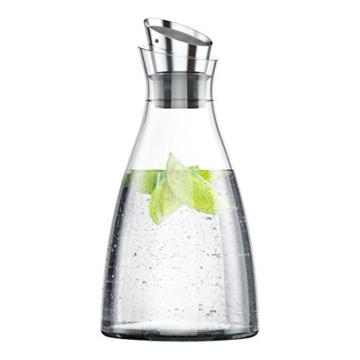 EMSA 505219 Kühlkaraffe FLOW Karaffe Glas/Edelstahl, 1,00 Liter (4 Std. kühl, spülmaschinenfest, integriertes Kühlelement) -
