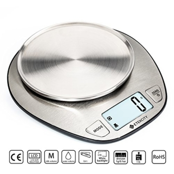 Etekcity 5KG Digitale Küchenwaage, Hohe Präzision auf bis zu 1g (5kg Maximalgewicht), Tara-Funktion, aus Edelstahl mit Großem LCD-Display -