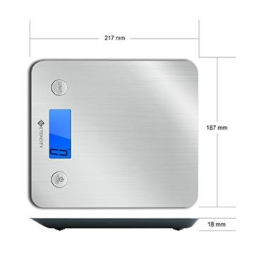 Etekcity 5KG/11lb Digitale Küchenwaage Briefwaage mit Edelstahloberfläche, Slim Design, Beleuchtetes Display, Silber -