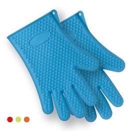 FOXAS® Silikon Mikrowelle/Backofen Hitzebeständige Handschuhe Topflappen & Ofenhandschuhe (Blau) -