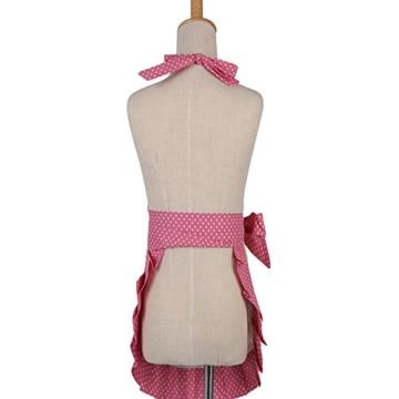 G2Plus Schön Frau Schürze Baumwolle Blumenmuster Küchenschürze Modische Apron mit Taschen zum Kochen oder Backen (Pink) -