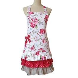 G2Plus Schön Frau Schürze Schürze Baumwolle Küchenschürze Modische Apron mit Taschen zum Kochen oder Backen (Frau Schürze) -
