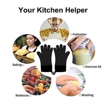 GEEKHOM Grillen Handschuhe, hitzebeständige Handschuhe Grill Küche Silikon Ofenhandschuhe, lange Wasserdicht Rutschfeste Topflappen zum Grillen, Kochen, Backen (Schwarz) (Schwarz) -