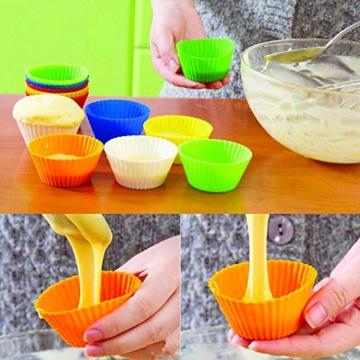 Goodlucky365 40 Stück Silikon Muffinformen Backform Cupcake Muffinförmchen Silikon Muffin Form in 8 leuchtende Farben,40 runde Formen, antihafte, hitzebeständige Backformen Nahrungsmittelgrad -