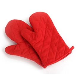Handschuhe - TOOGOO(R) 1 Paar Kueche Handwerk hitzebestaendige Handschuhe Baumwolle Topflappen Kochen Backen Topf Halter rot -