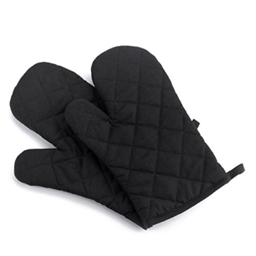 Handschuhe - TOOGOO(R) 1 Paar Kueche Handwerk hitzebestaendige Handschuhe Baumwolle Topflappen Kochen Backen Topf Halter schwarz -