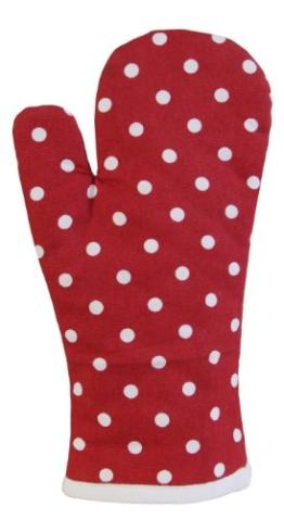 Homescapes Ofenhandschuh Polka Dots, rot weiß ca. 18 x 32 cm, Topfhandschuh aus 100% reiner Baumwolle mit Polyesterfüllung, waschbarer Kochhandschuh -