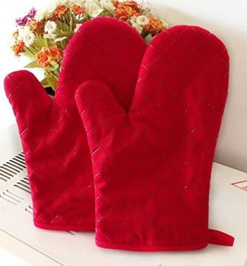 Ioven Topfhandschuhe,2-teilig,silikon & Baumwolle,Topflappen (rot) -