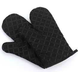 Ioven Topfhandschuhe,2-teilig,silikon & Baumwolle,Topflappen (schwarz) -