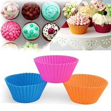 Ipow 24-Pack Silikon muffinform Muffin Cupcake Backförmchen Muffinförmchen 6 Farben für Muffins, Brownies, Cupcakes, Kuchen, Pudding -