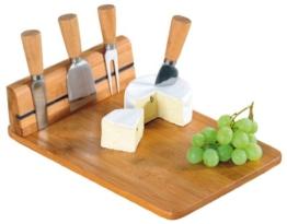 Kesper 50641 Käseschneidbrett mit 4tlg. Besteck, Bambus, Maße: 30 x 20 x 8 cm -
