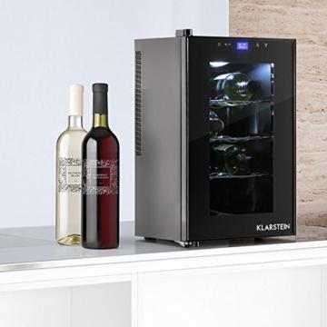 Klarstein Reserva Piccola Weinkühlschrank Getränkekühlschrank (25 Liter, 8 Flaschen, LED-Display, verspiegelte Glastür) schwarz -