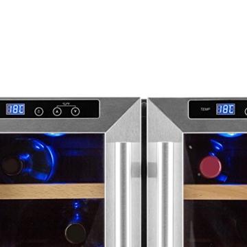 Klarstein Reserva Saloon Weinkühlschrank Weinkühler Getränkekühlschrank (40 Liter, 12 Flaschen, LED-Anzeige, 2-türig, Innen-Beleuchtung, doppelt isolierte Glastüren) silber -