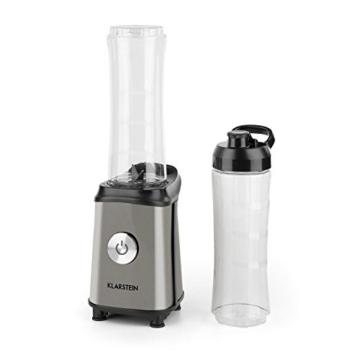 Klarstein Tuttifrutti Standmixer Küchenmixer (350 Watt, Mini-Mixer, 2 Mixbehälter mit Karabinerhaken, 800 ml, BPA-frei, Kreuzklingen) grau -