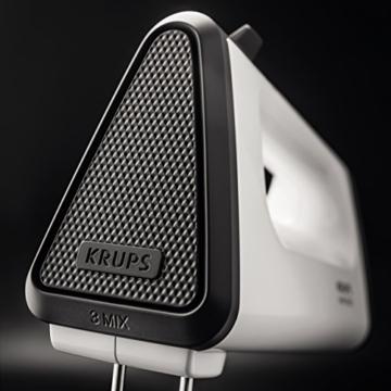 Krups GN5021 Handmixer mit Turbostufe, 3 Mix 550, 500 W, Tubo-Quirle und Spriral-Kneter aus Edelstahl, weiß / schwarz -