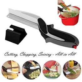 Küchenschere Schneider 2-in-1 Lebensmittel Chopper - Küchenmesser mit integriertem Schneidebretter, Baby Nahrungsergänzung Schere (Schwarz-2) -