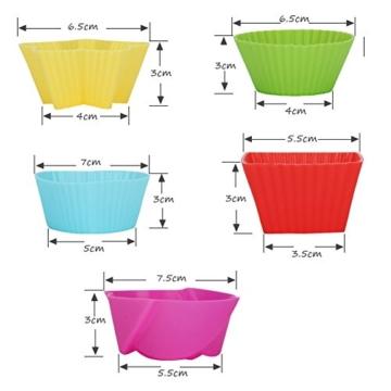 KYG 60er wiederverwendbare Muffinformen Backförmchen Cupcake Backformen aus hochwertigem Silikon 5 Formen mit 6 Farben -