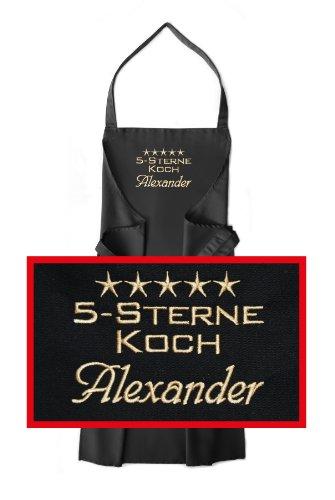 Latz-Schürze 5-Sterne-Koch + Name oder Wunschbegriff, hochwertig bestickt, Schürzenfarbe schwarz, Schürze und Stickerei deutsche Produktion; Mitteilung Name siehe Produktbeschreibung -