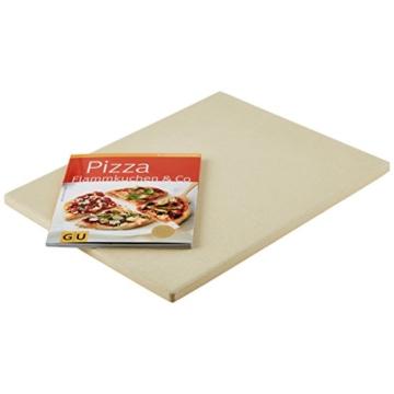 """Levivo Pizzastein/Brotbackstein aus hitzebeständigem Cordierit, 30 x 38 x 1,5 cm & GU Buch """"Pizza, Flammkuchen & Co."""" -"""