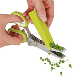 LOMATEE Kräuterschere Küchenschere aus Edelstahl mit 5 Klingen + Messerabdeckung -